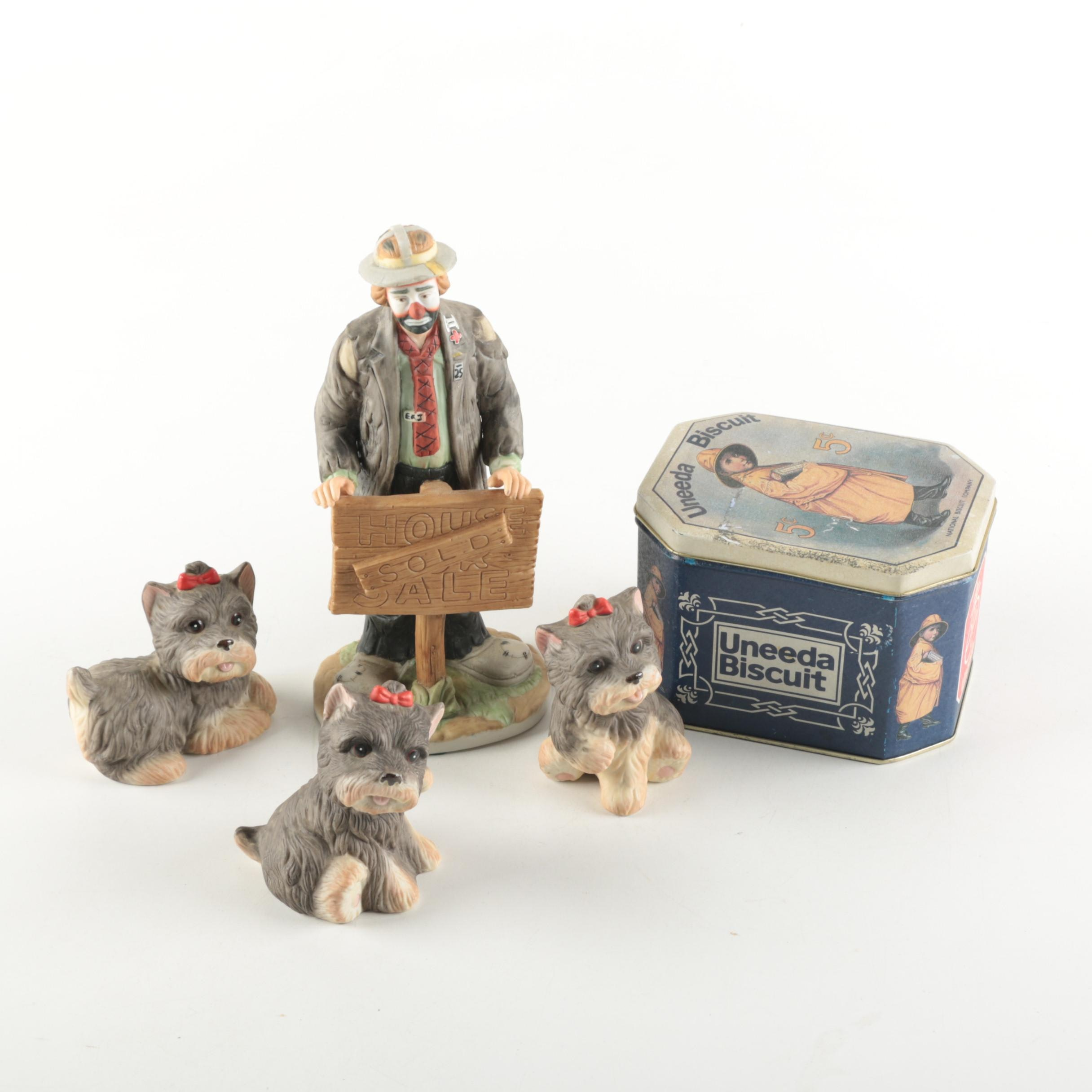 Homco Yorkshire Terrier Figurines and Vintage Tin