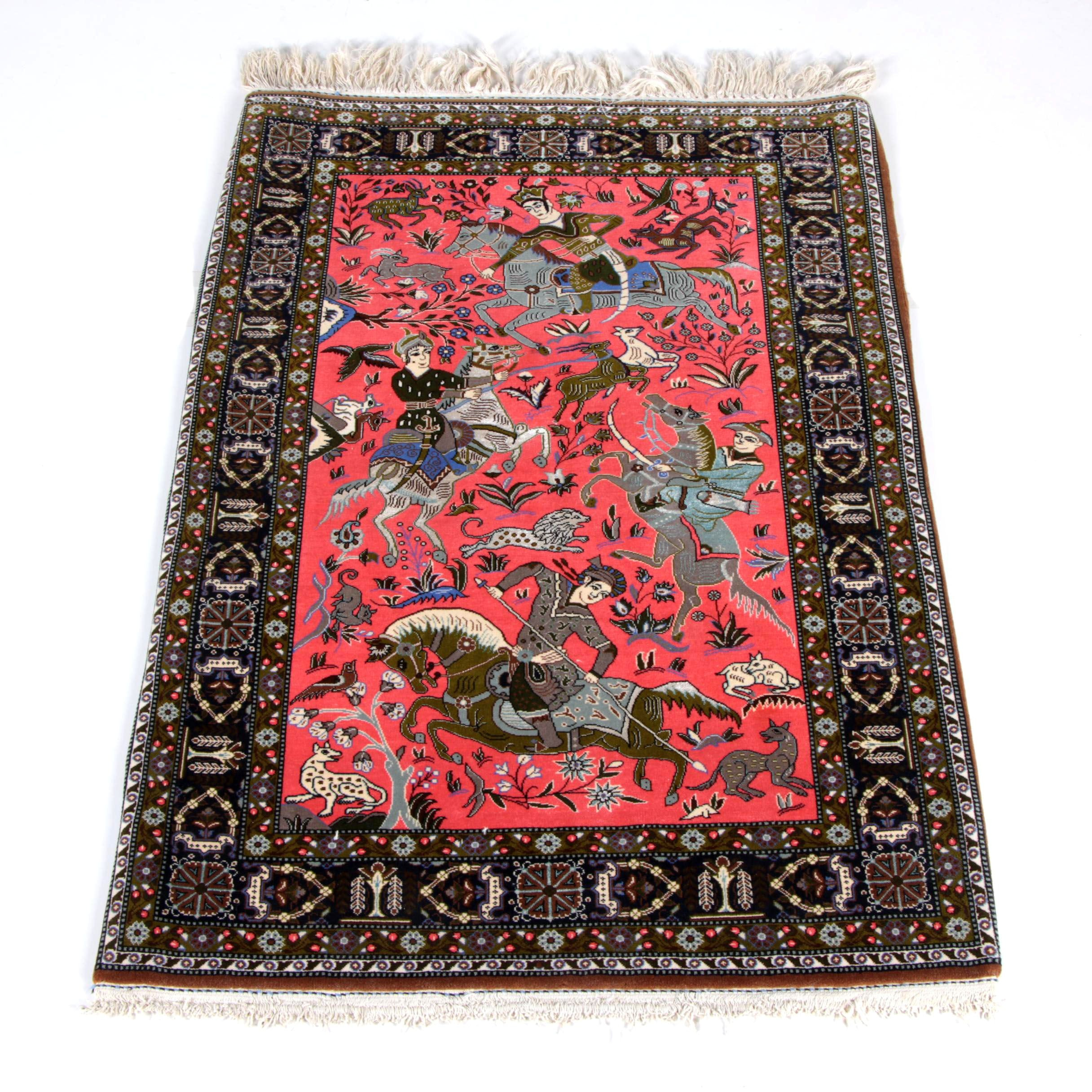 Vintage Finely Hand-Knotted Persian Qum Hunting Scene Area Rug