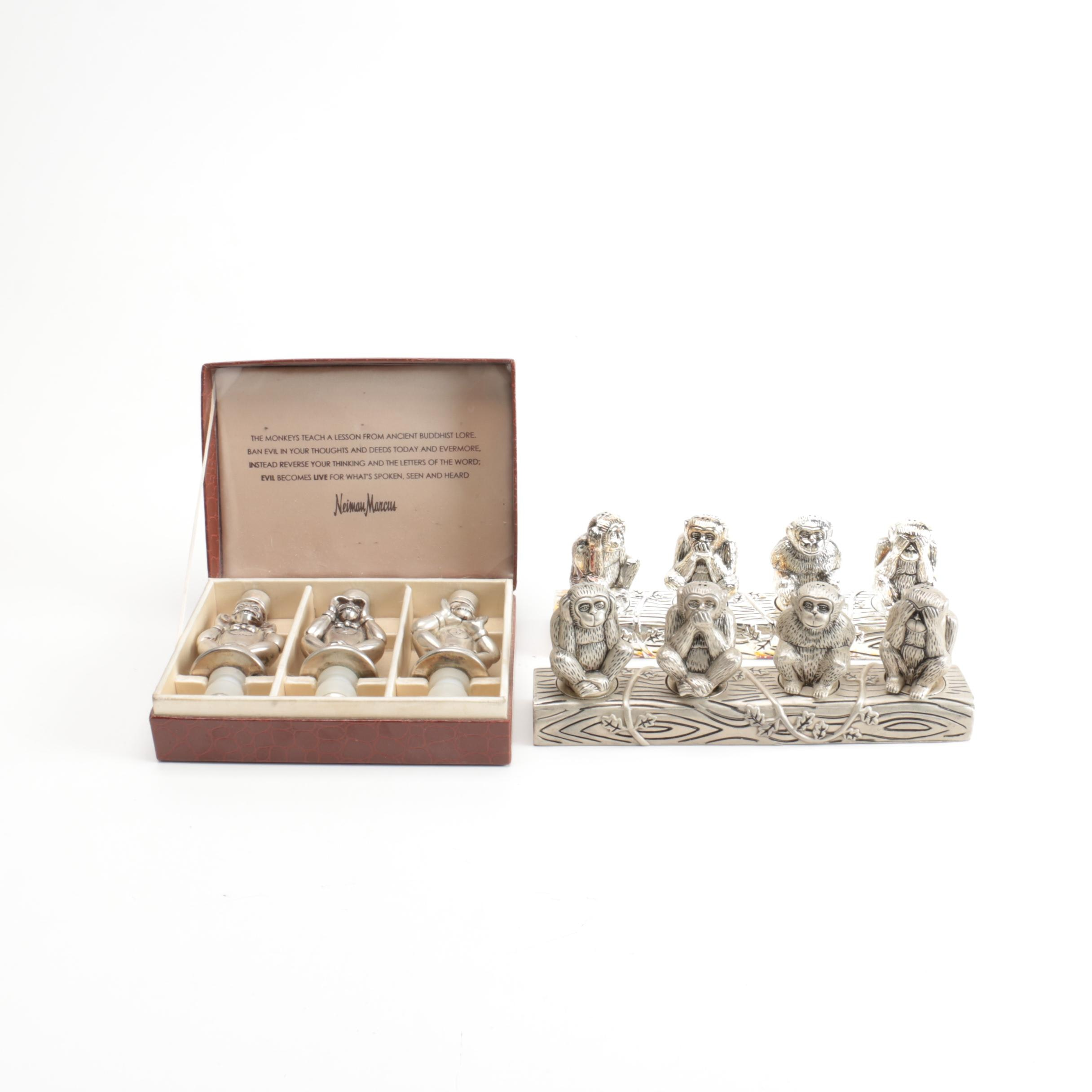 """Nieman Marcus """"Three Wise Monkeys"""" Bottle Stoppers with Shakers"""