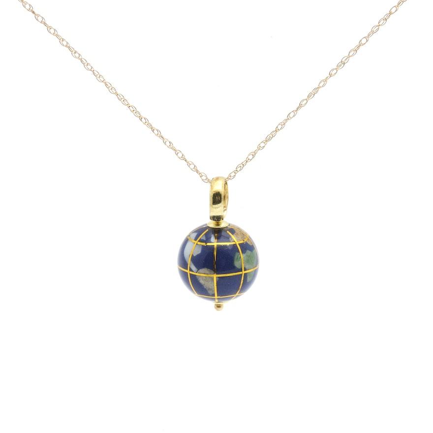 14k yellow gold gemstone globe pendant necklace ebth 14k yellow gold gemstone globe pendant necklace mozeypictures Gallery