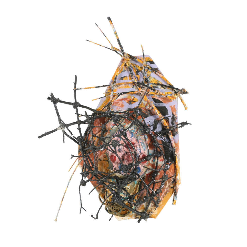 "Frank Kowing Mixed Media Sculpture ""Helmet Head in Cage"""