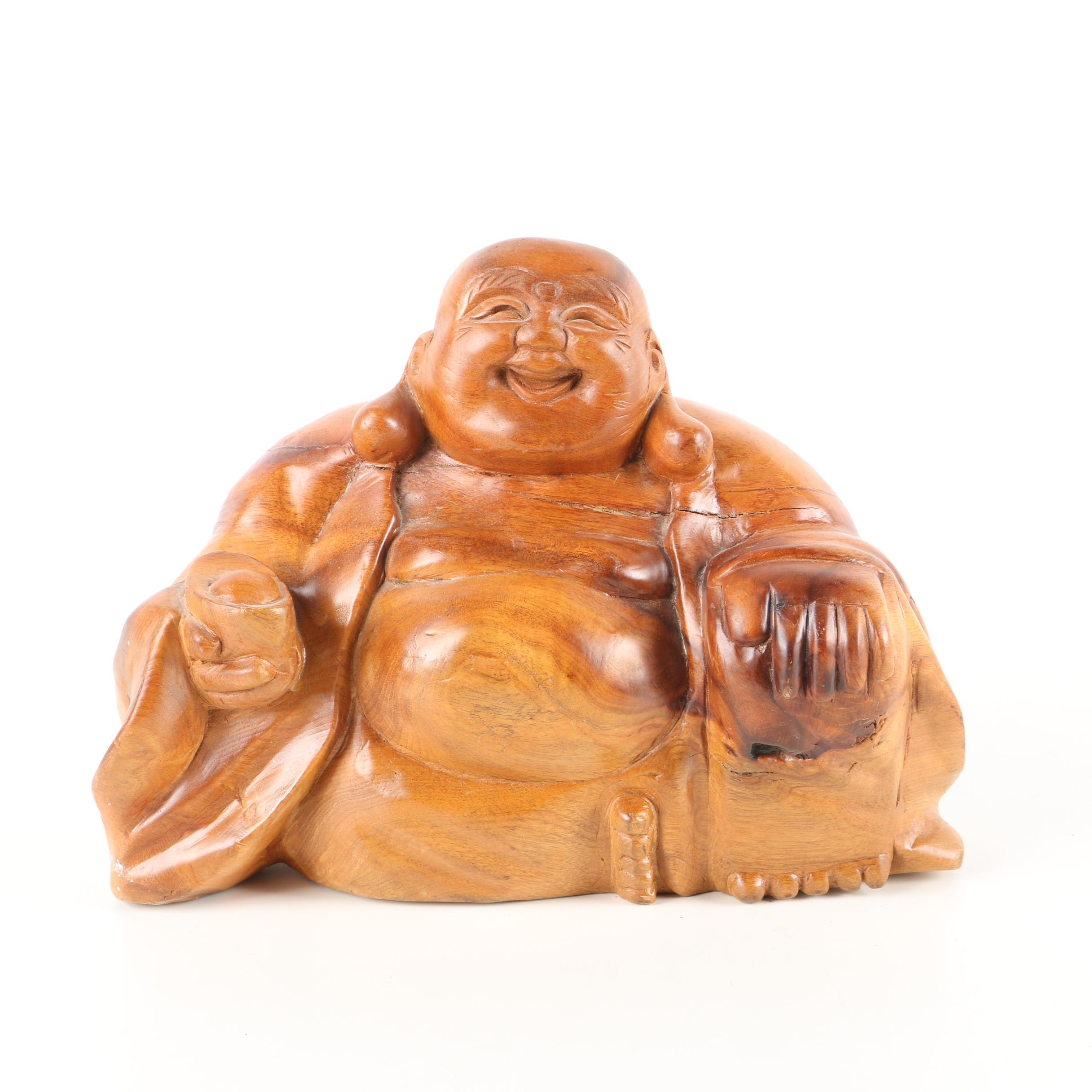 East Asian Inspired Carved Teak Laughing Budai Figure