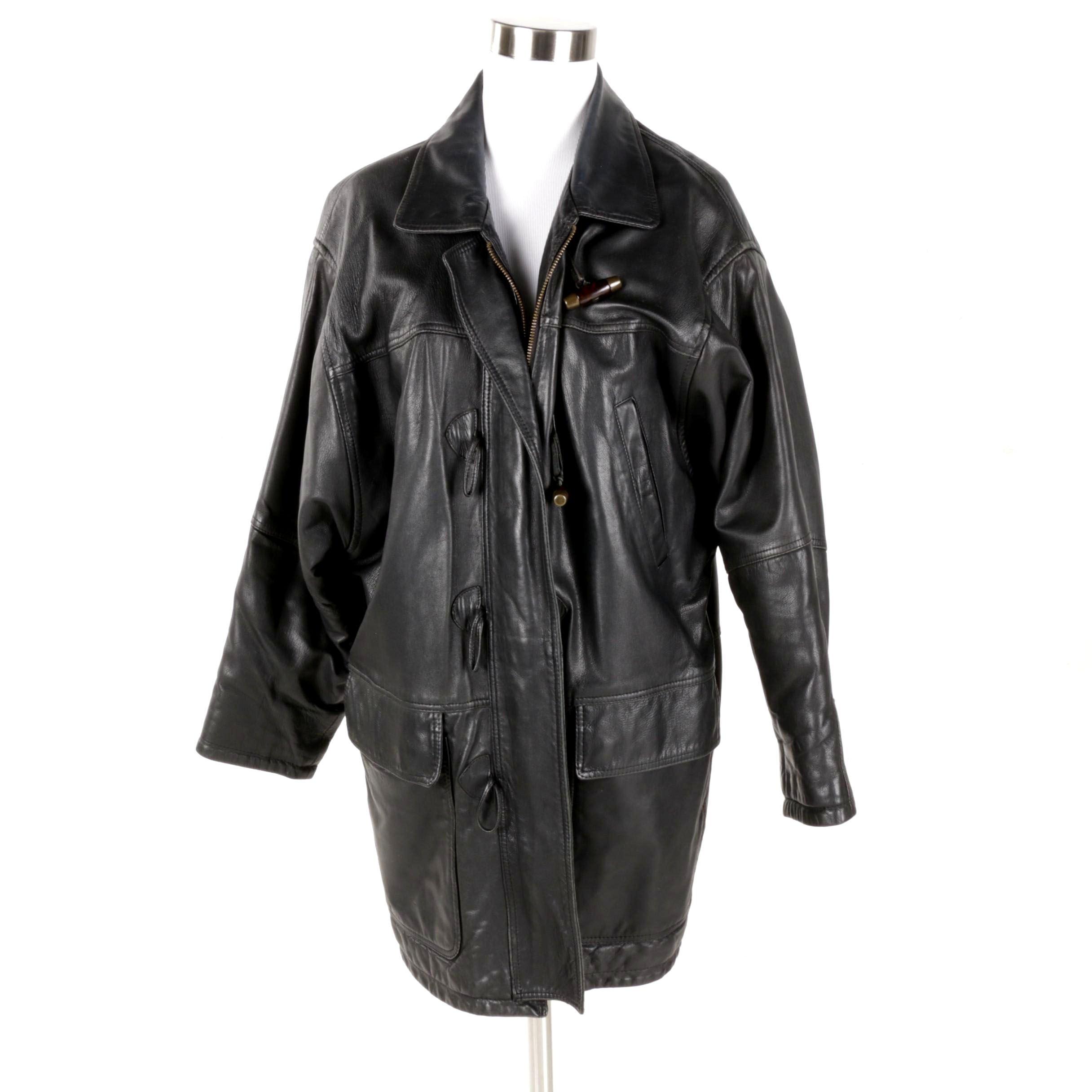 Women's Burberry Black Leather Toggle Coat