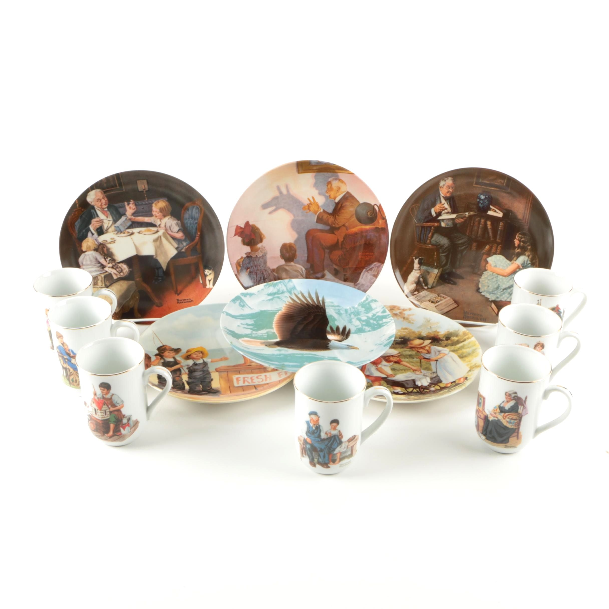 Porcelain Mugs and Plates Featuring Norman Rockwell