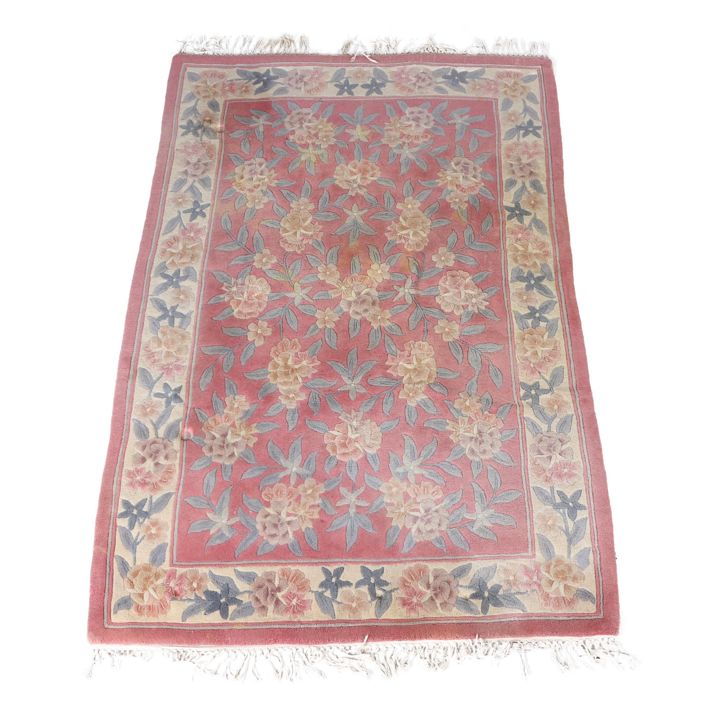 Hand-Tufted and Carved Chinese Floral Area Rug