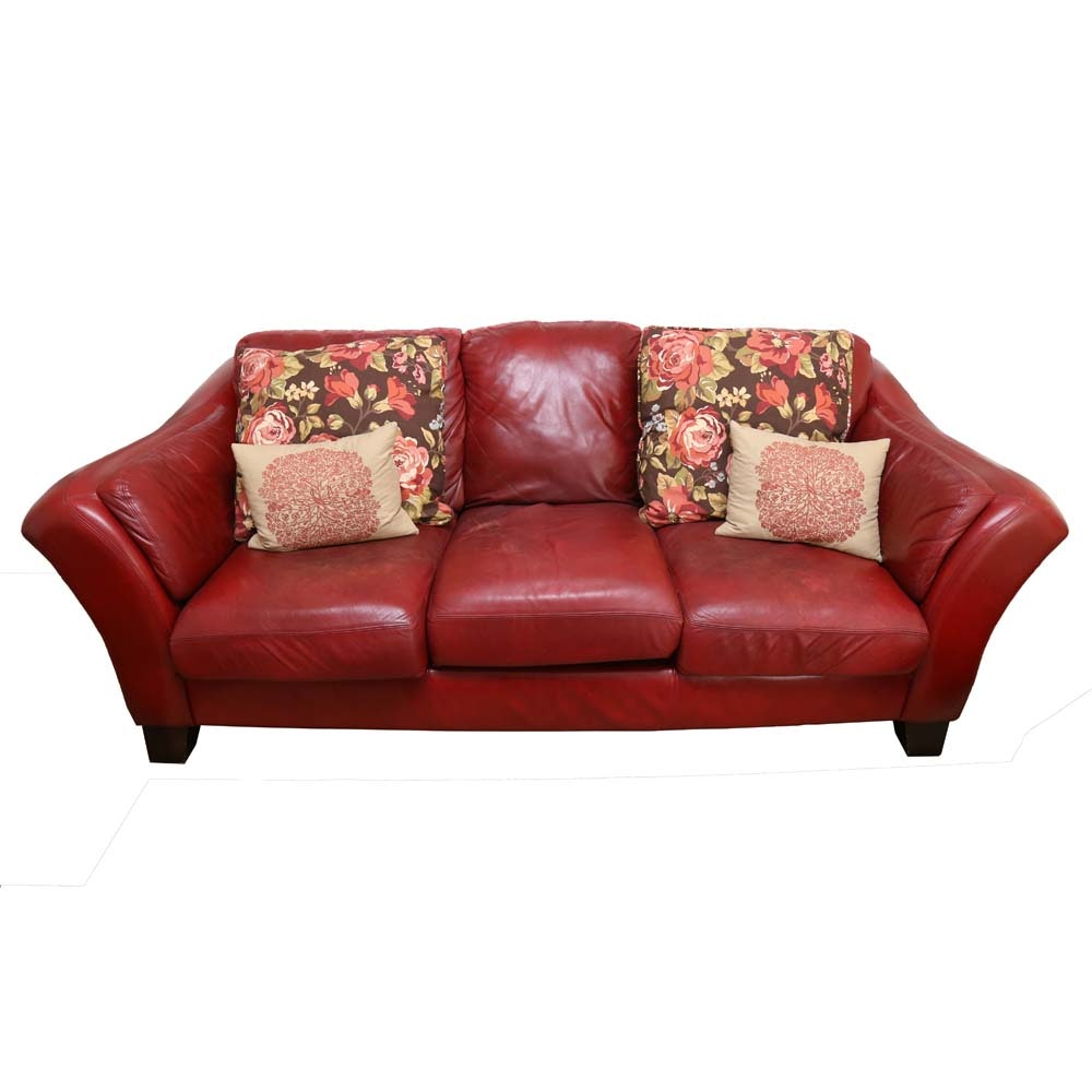 Maroon Leather Sofa