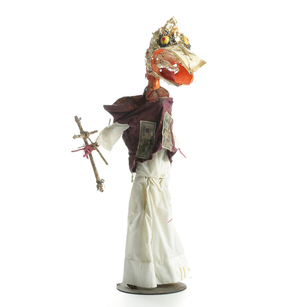 """Frank Kowing Mixed Media Sculpture """"Screaming Pope"""""""