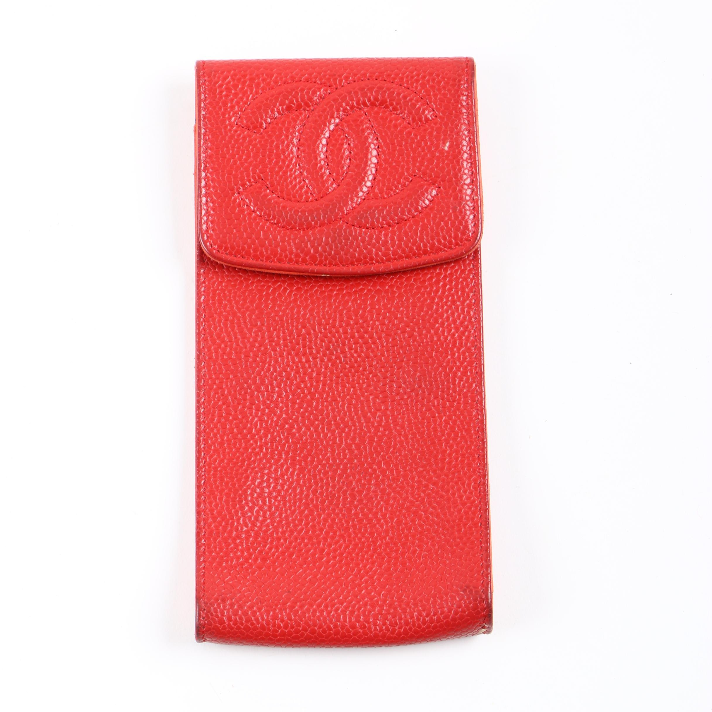 Chanel Red Caviar Leather Eyeglass Case