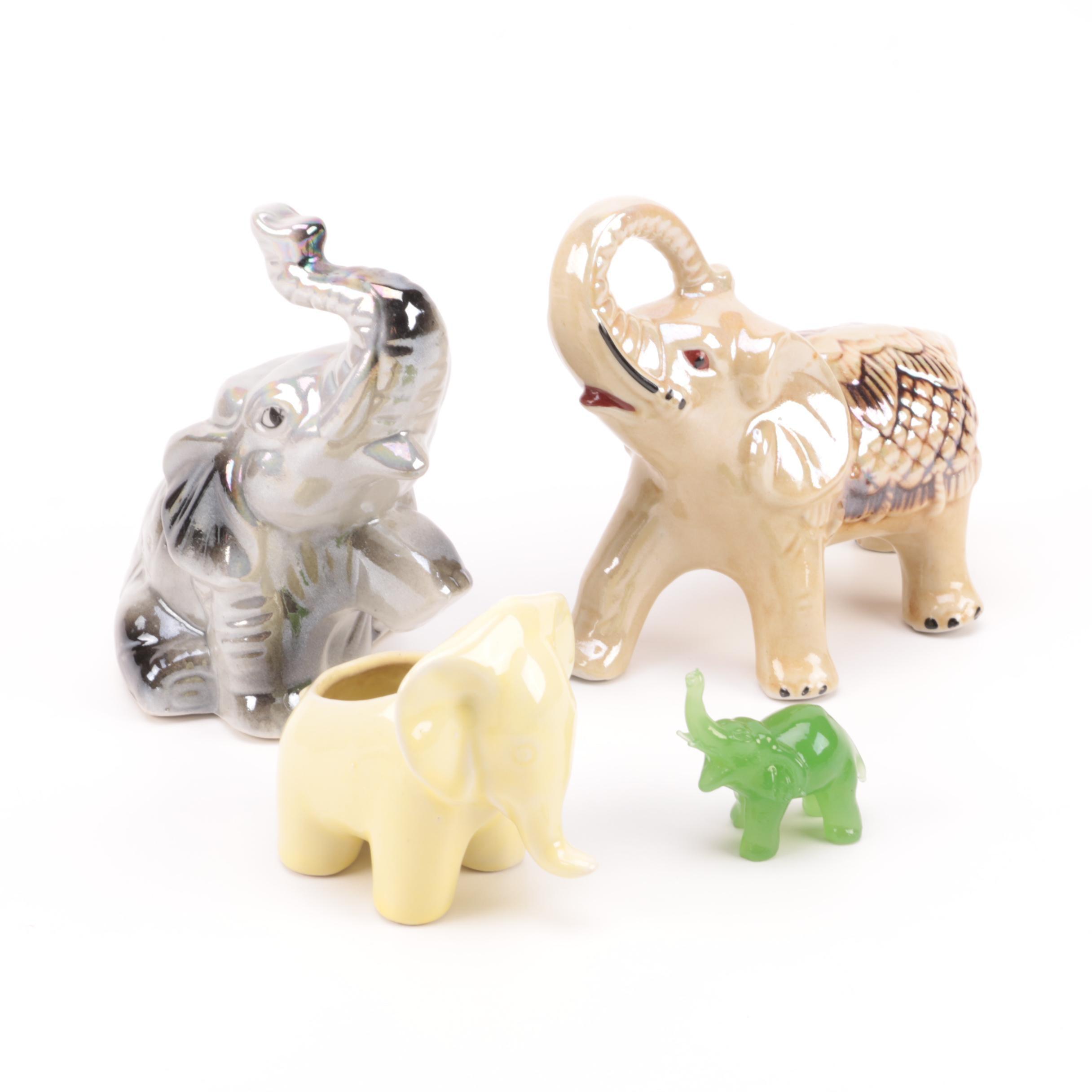 Ceramic and Glass Elephant Figurines
