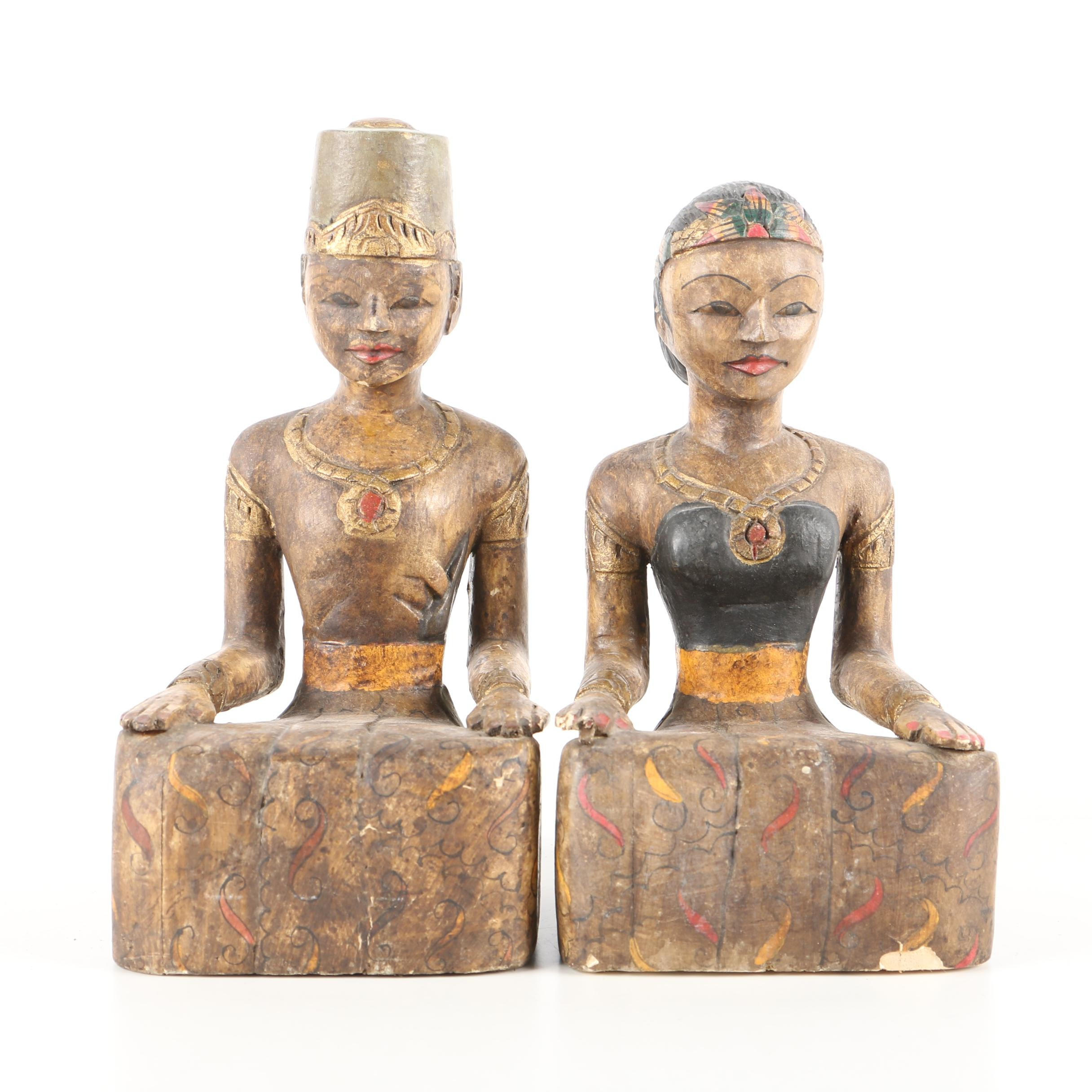 Pair of Southeast Asian Style Wooden Sculptures of a Wedding Couple
