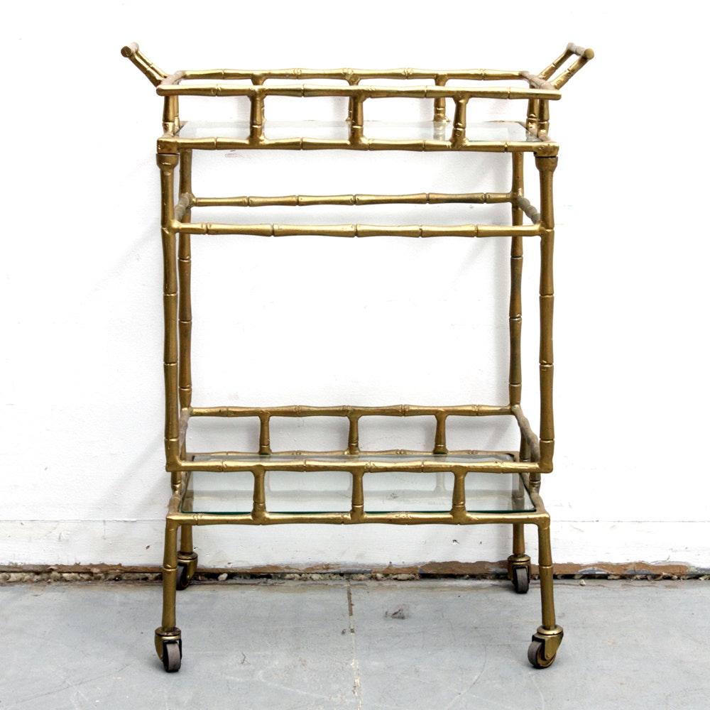 Brass Tone Faux Bamboo Bar Cart