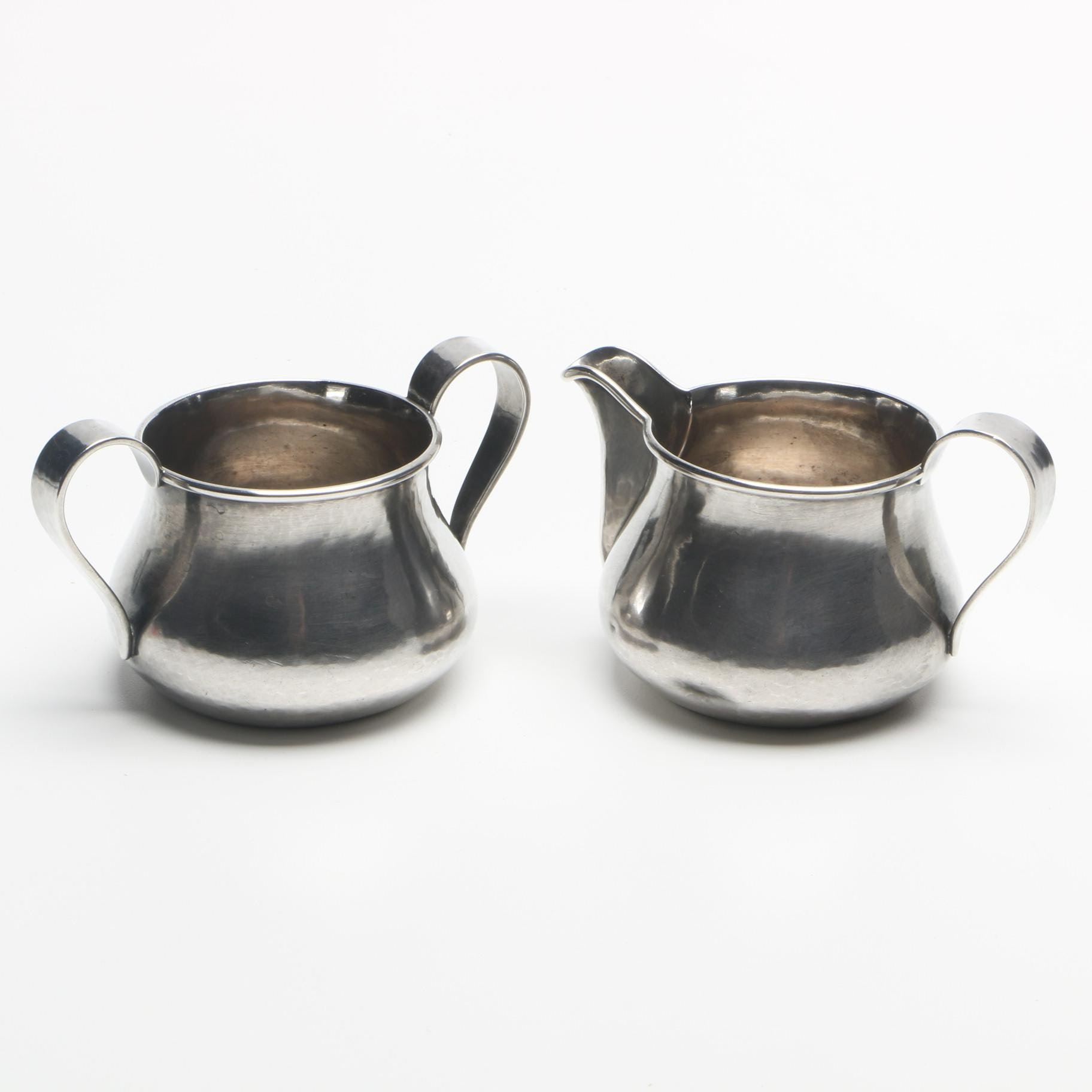 The Kalo Shop Hand Wrought Sterling Silver Creamer and Sugar Bowl