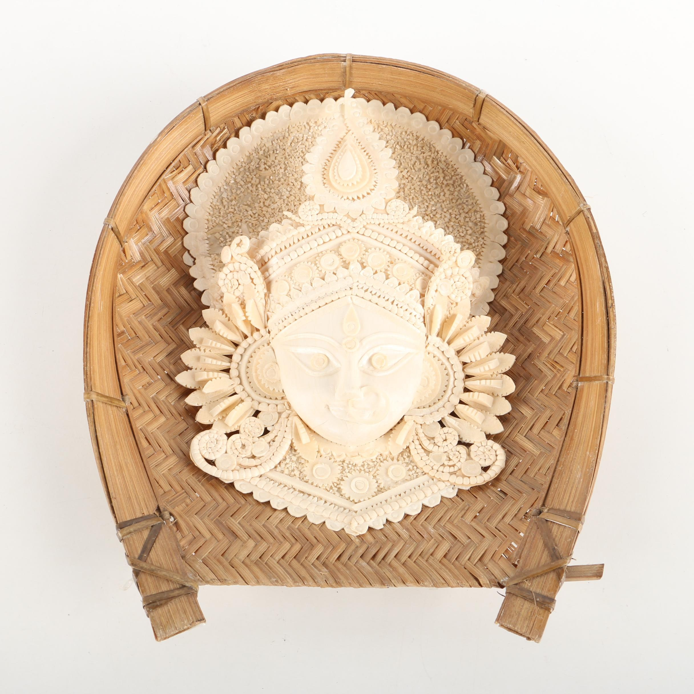 Southeast Asian Style Pressed Paper and Wood Sculpture