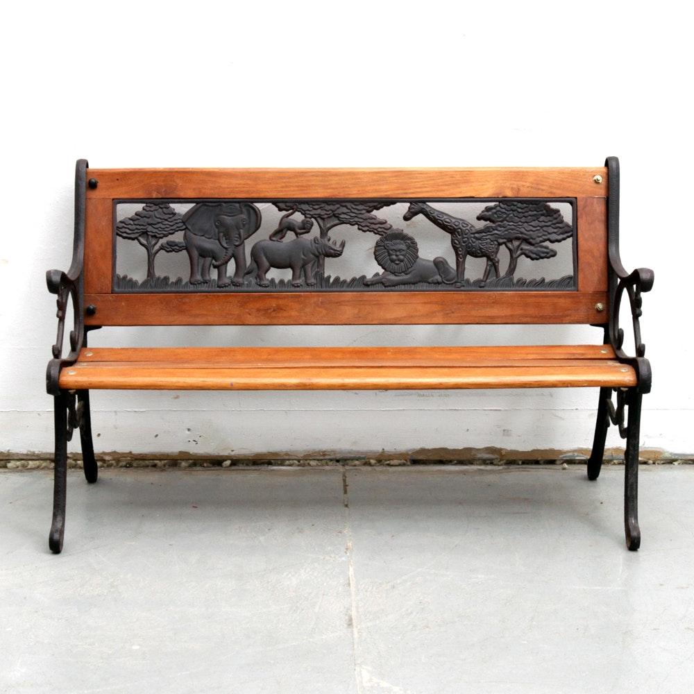 Child's Safari Themed Wooden Bench