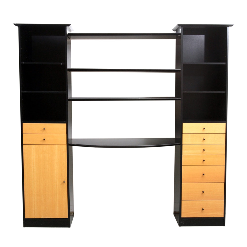 Contemporary Desk with Storage Columns