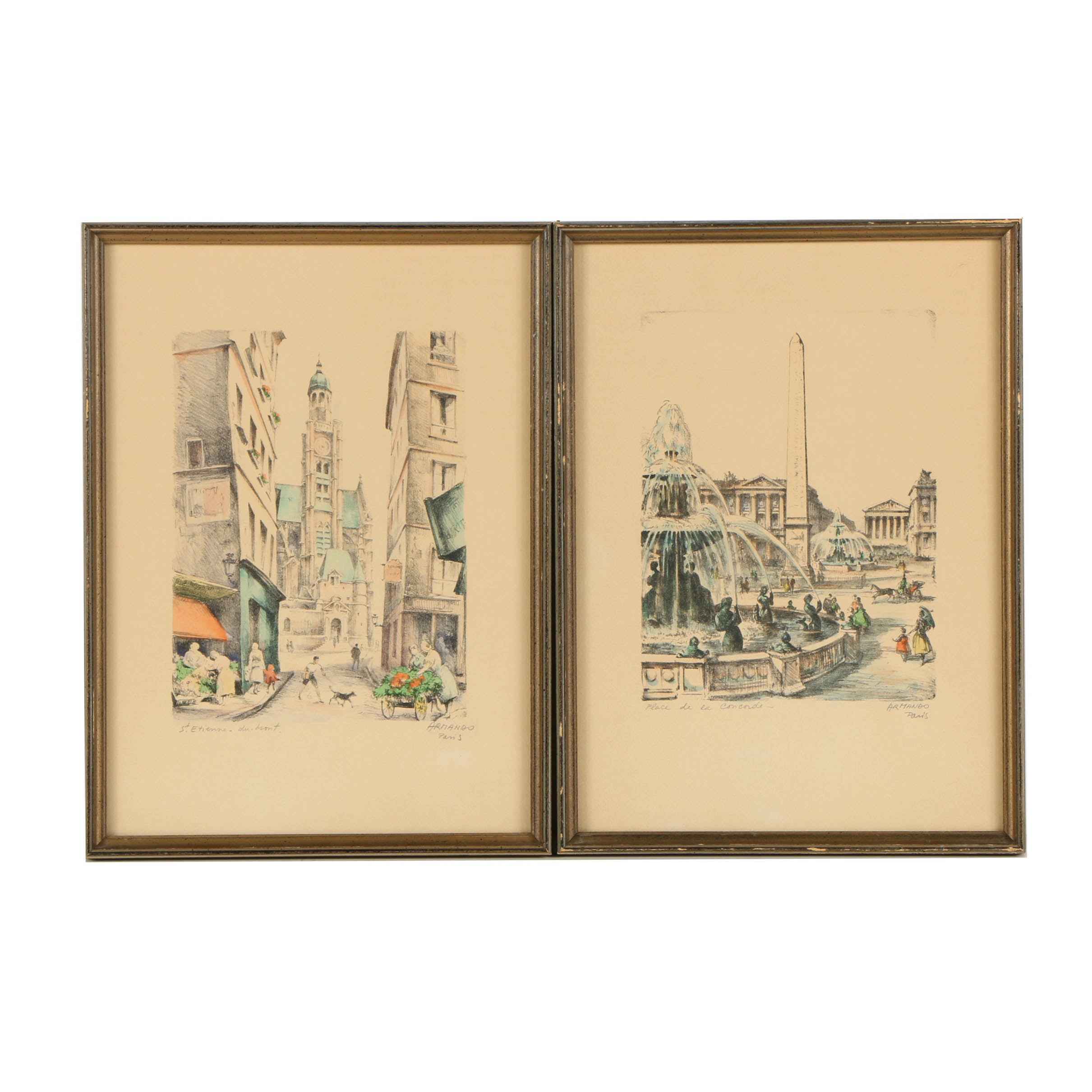 Mid-Century Armando Hand Colored Lithographs of Parisian Street Scenes