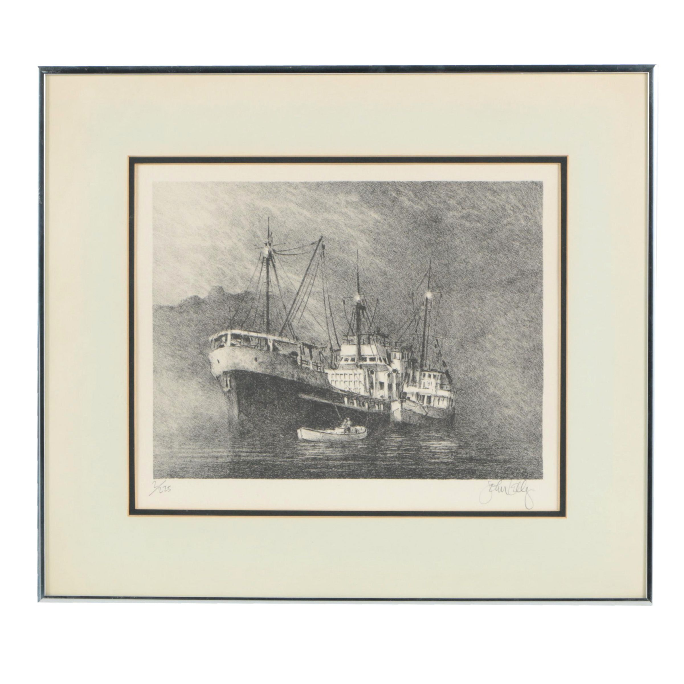 """John Kelly Limited Edition Lithograph on Paper """"Papeete"""""""
