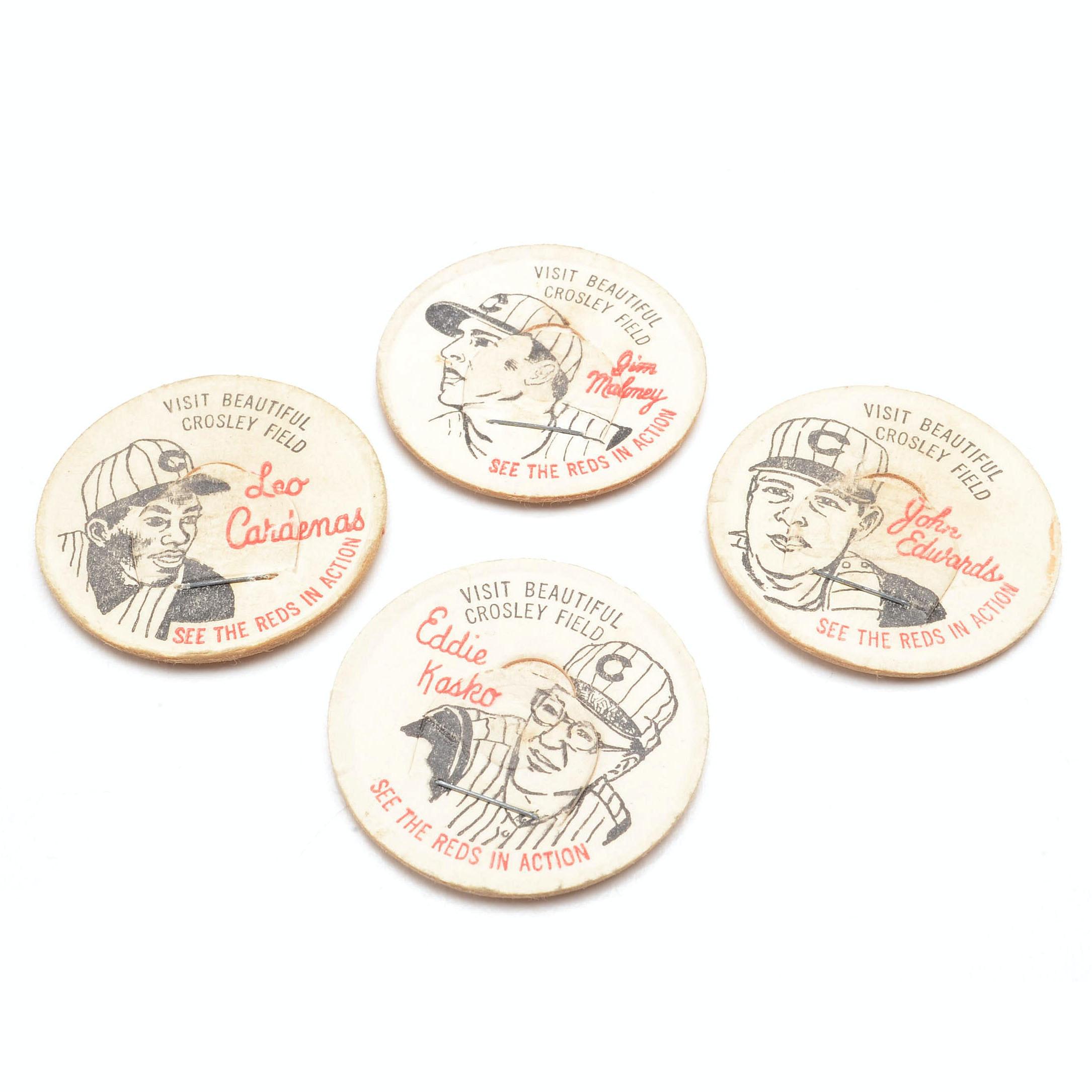 Four French Bauer Cincinnati Reds Milk Lids