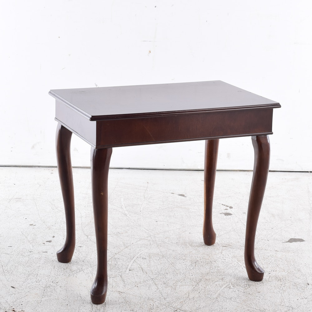 Queen Anne Style Mahogany Finished End Table from The Bombay Company