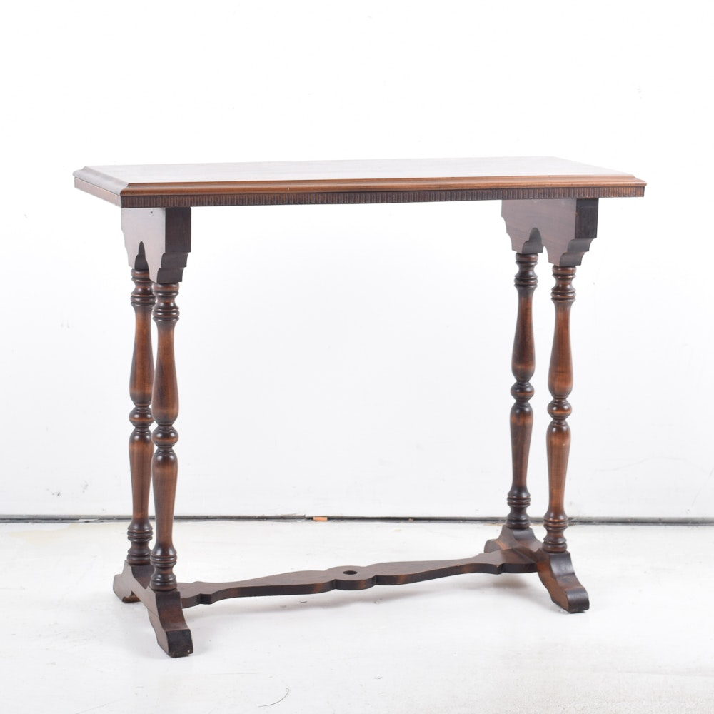 Vintage Side Table With Trestle Base