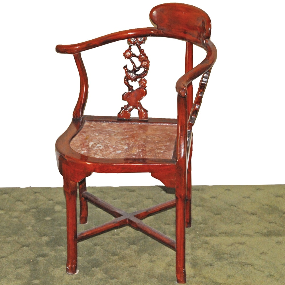 Chinese Marble Seat Corner Chair