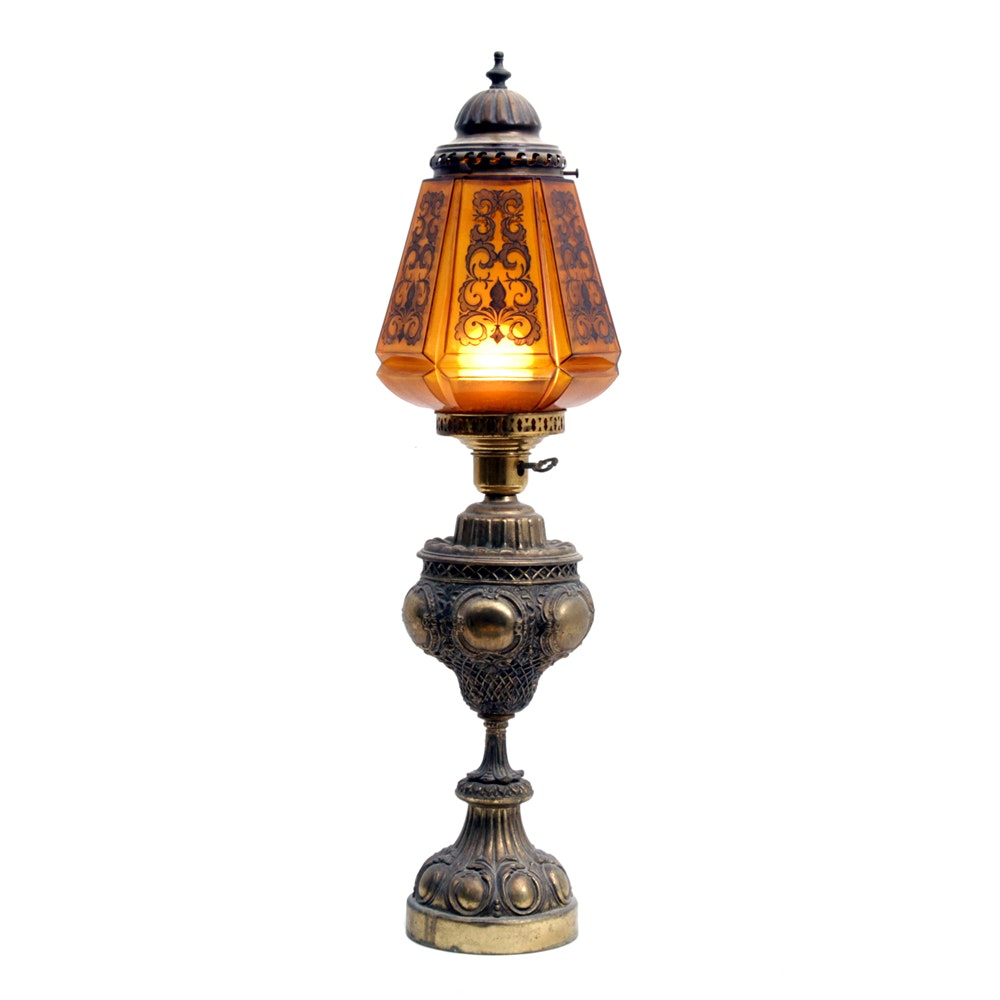 Vintage Brass Oil Lamp Style Table Lamp