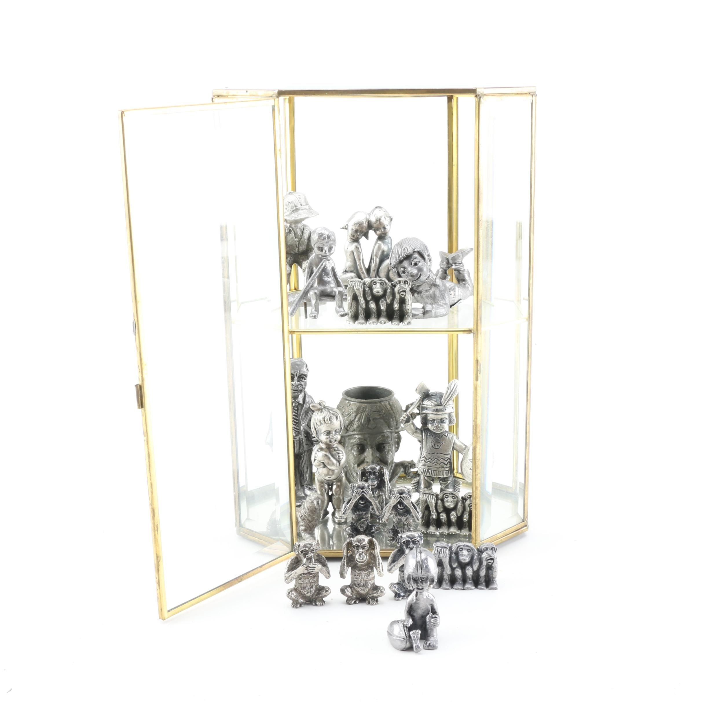 Collection of Pewter Figurines and Glass Display Case