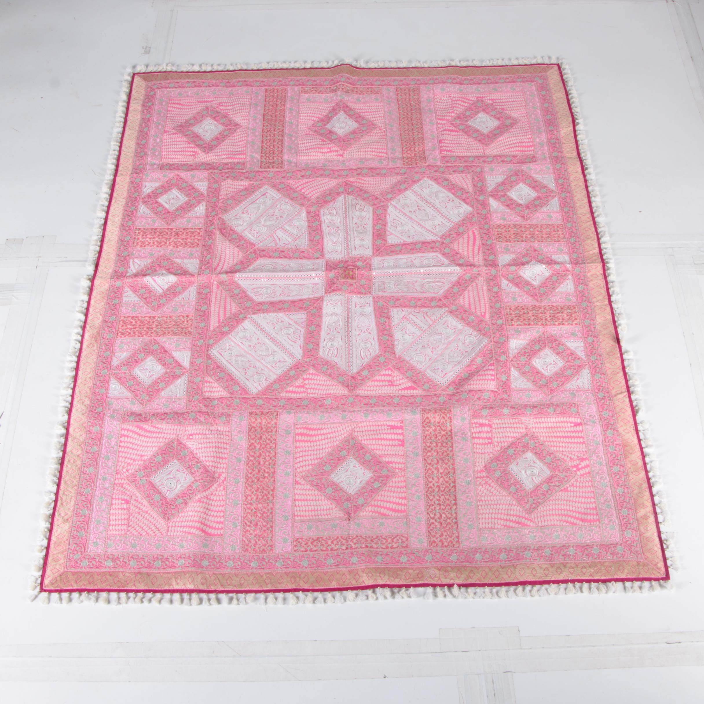 Vintage Embroidered South Asian Style Coverlet