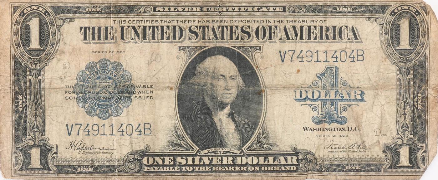 Series of 1923 Blue Seal One Dollar Silver Certificate Speelman-White Note