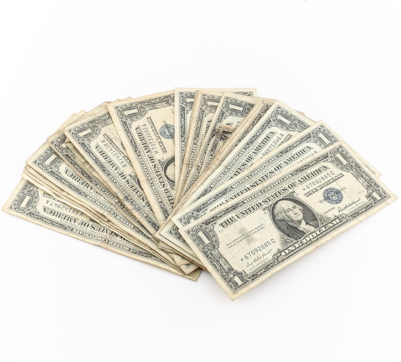 Group of Twenty-Five Blue Seal One Dollar Silver Certificates