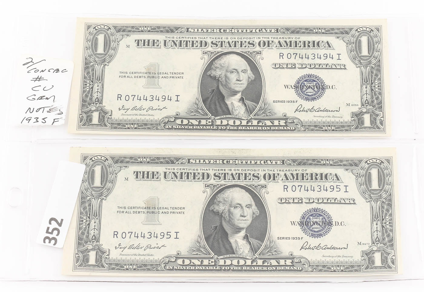 Two Consecutive Serial Numbered 1935 F Blue Seal $1 Silver Certificates