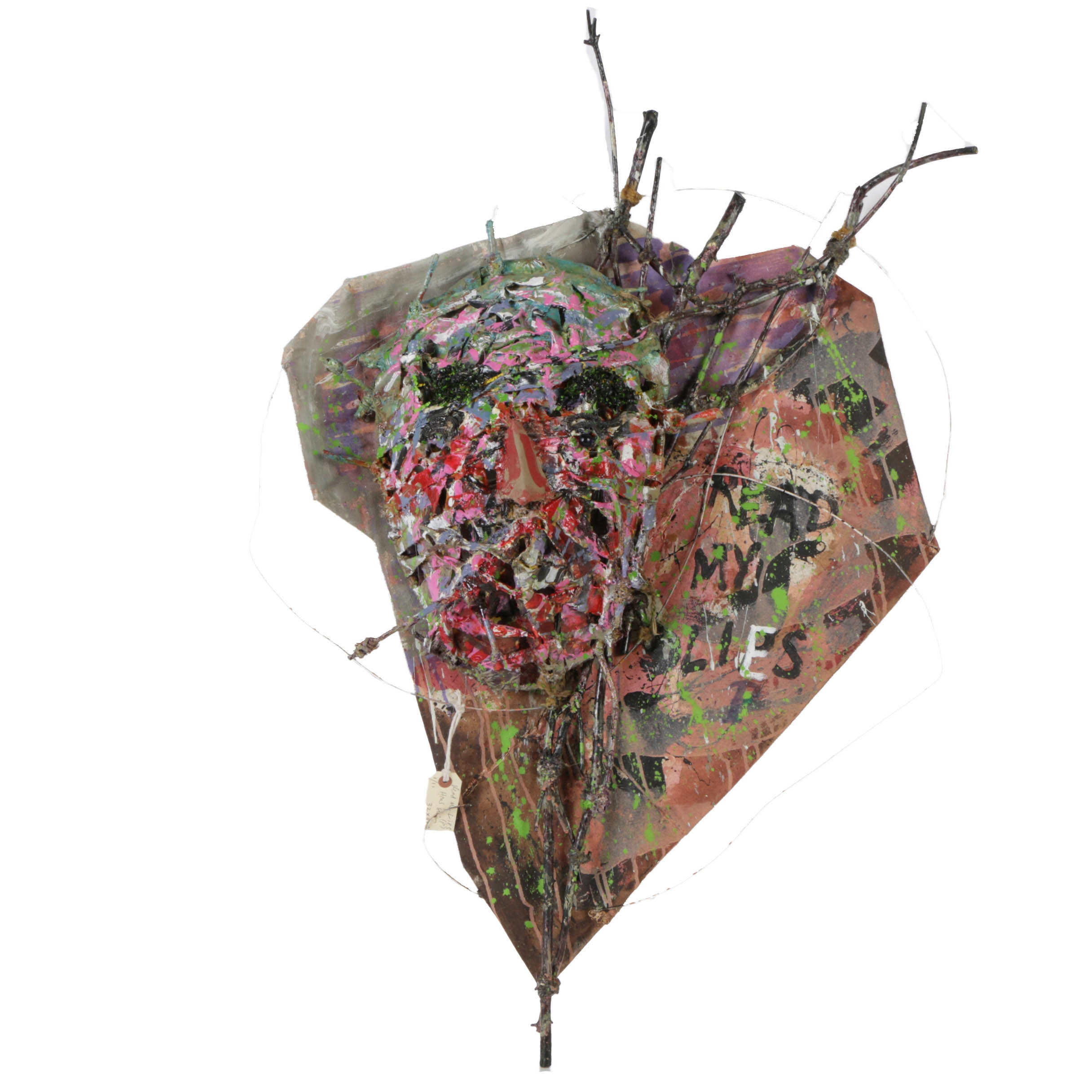 "Frank Kowing Mixed Media Sculpture ""Basket Head"""