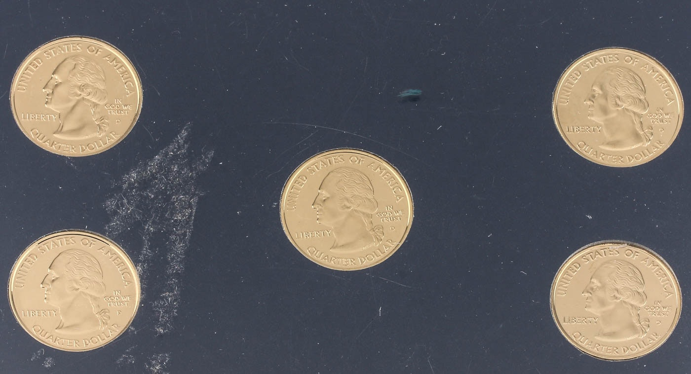 Group of Five 2003 Gold Plated Statehood Quarters