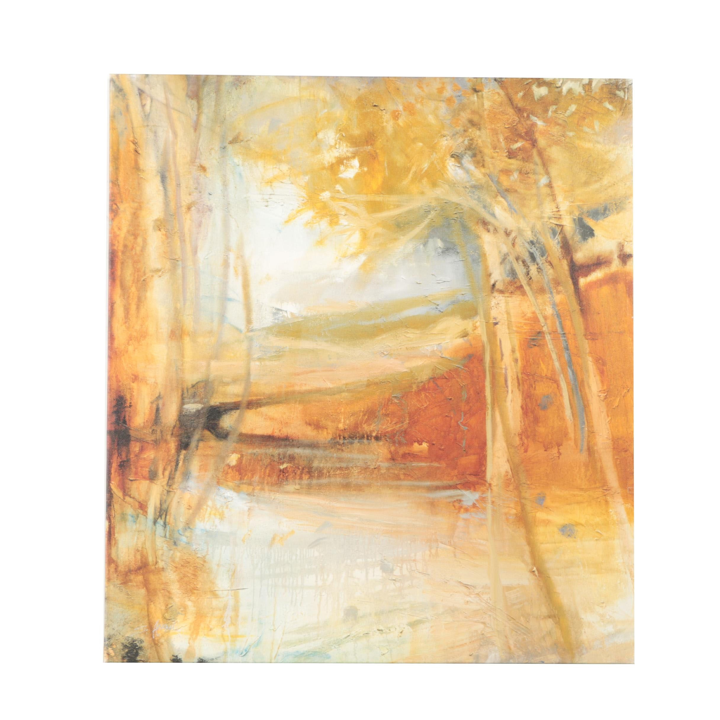 "Giclee on Canvas After Sylvia Angeli's ""Golden Reflections"""