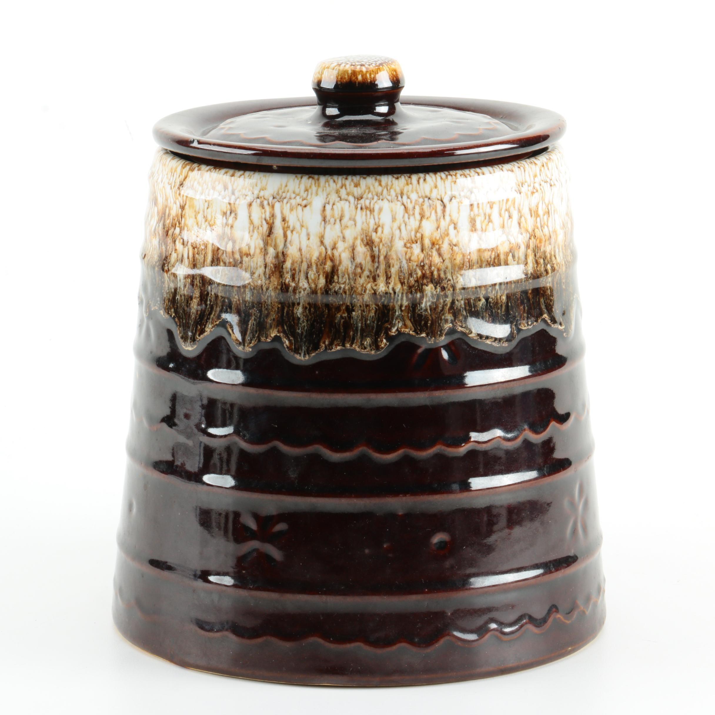 "Vintage Marcrest Foam Drip Glaze ""Daisy Dot"" Stoneware Cookie Jar"