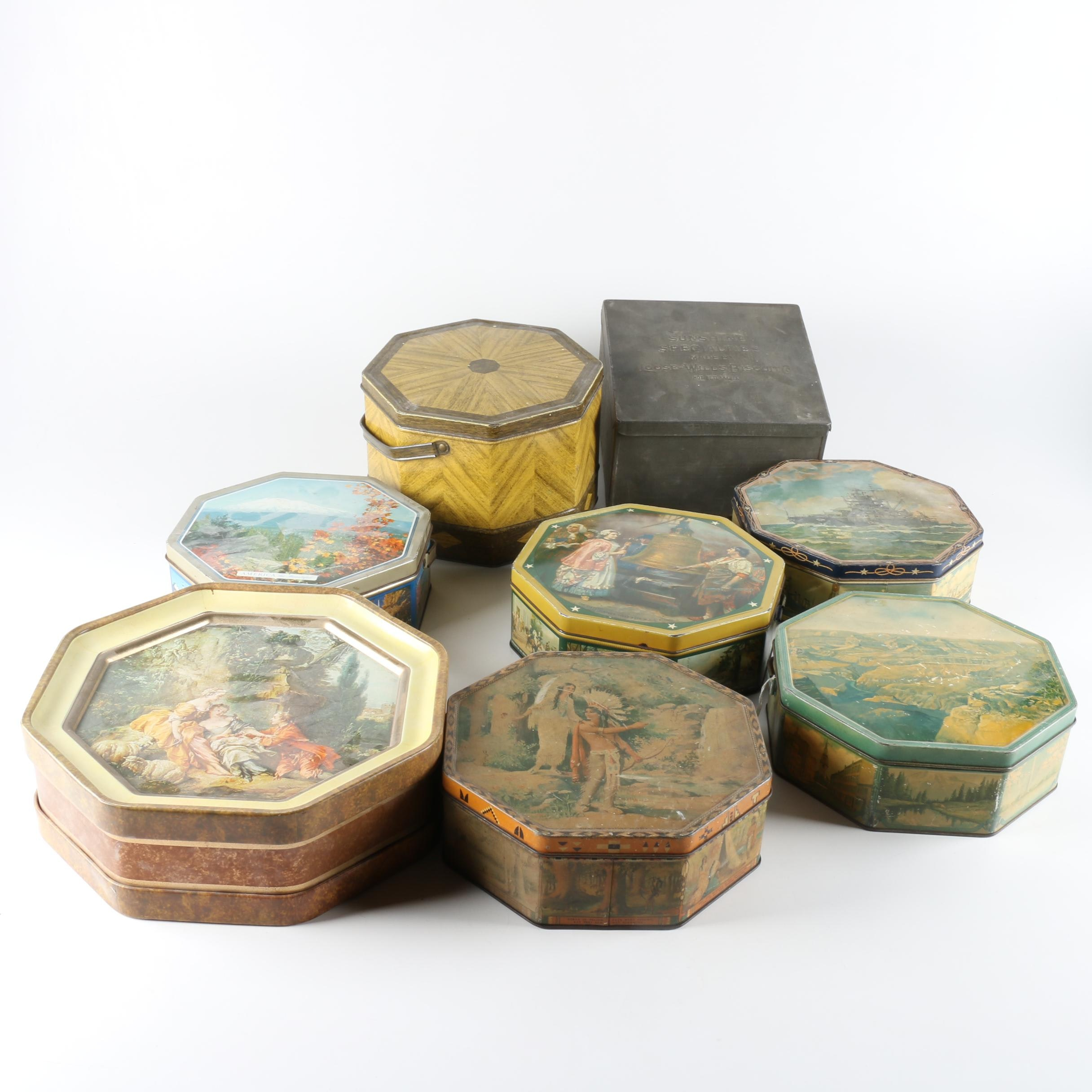 Collection of Vintage Loose Wiles Biscuit Tins
