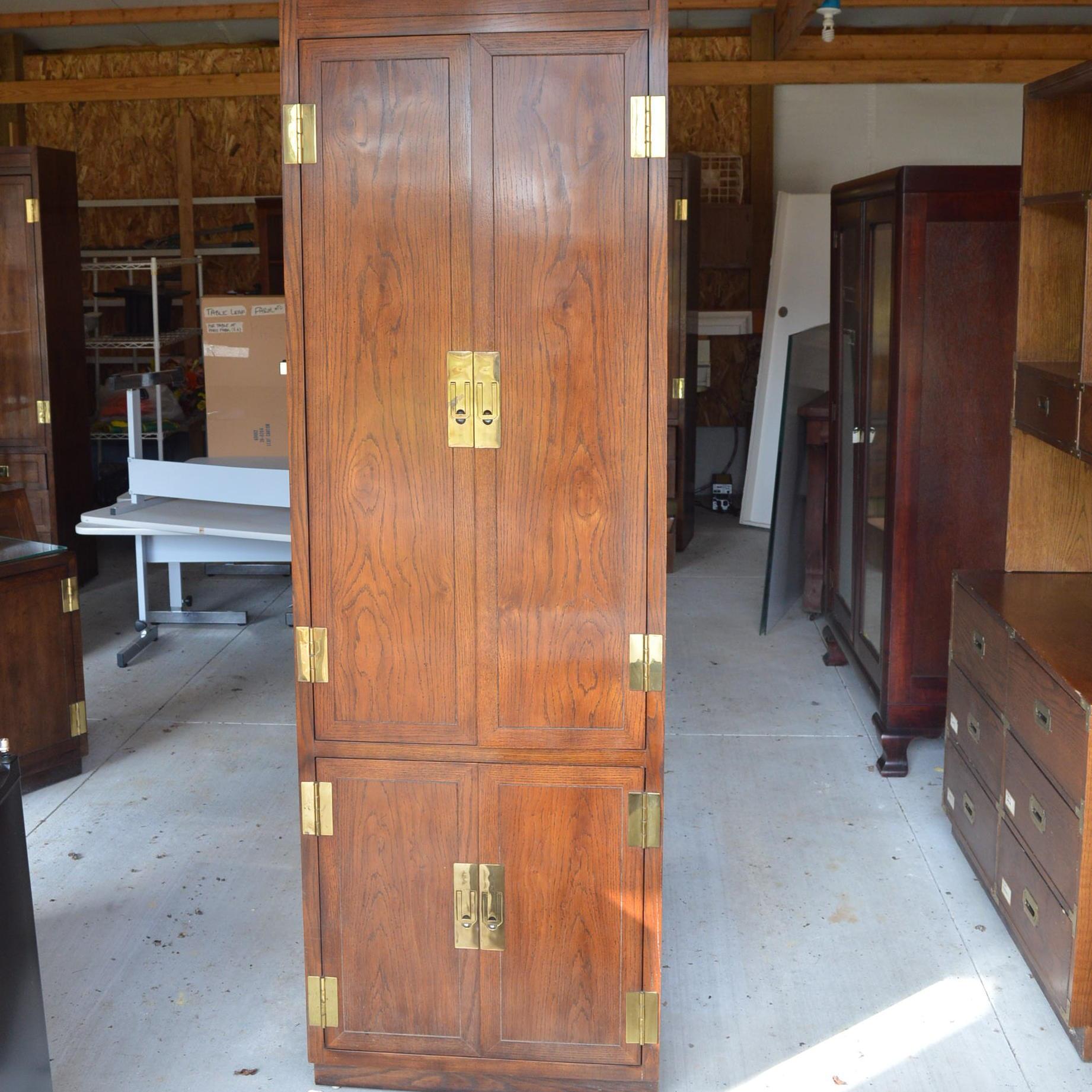 Campaign Style Oak Cabinet by Hendredon