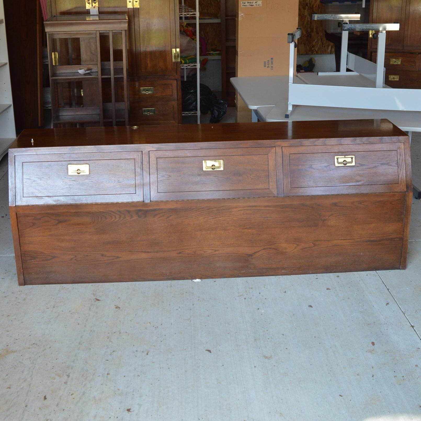 King-Size Campaign Style Cabinet Headboard by Henredon