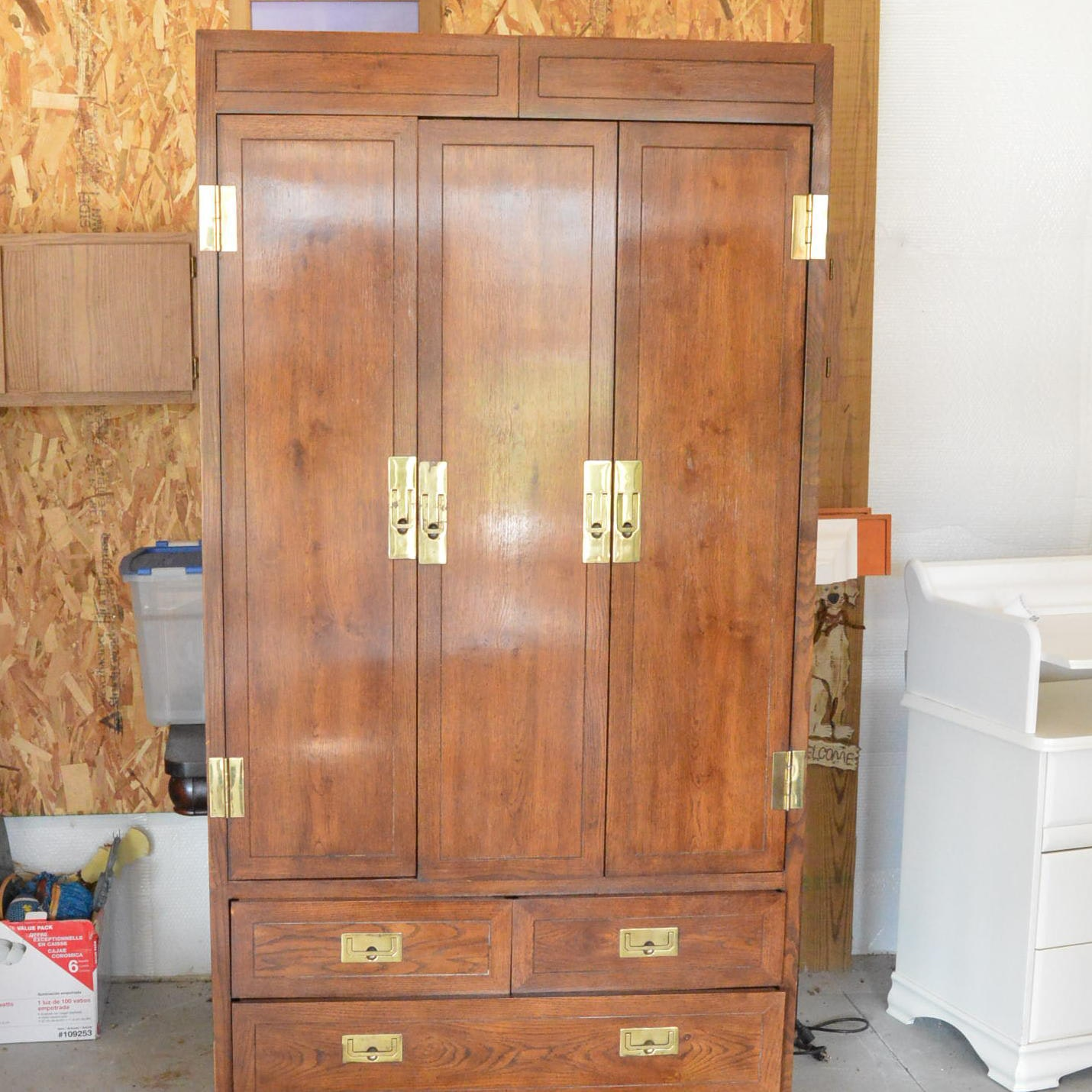 Tall Oak Campaign Style Cabinet by Henredon