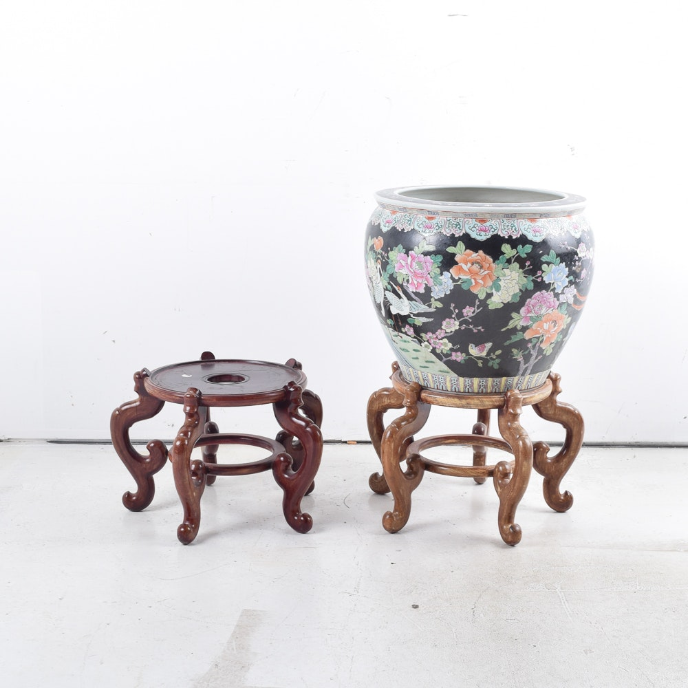 Large Chinese Fish Bowl Planter and Two Wooden Stands