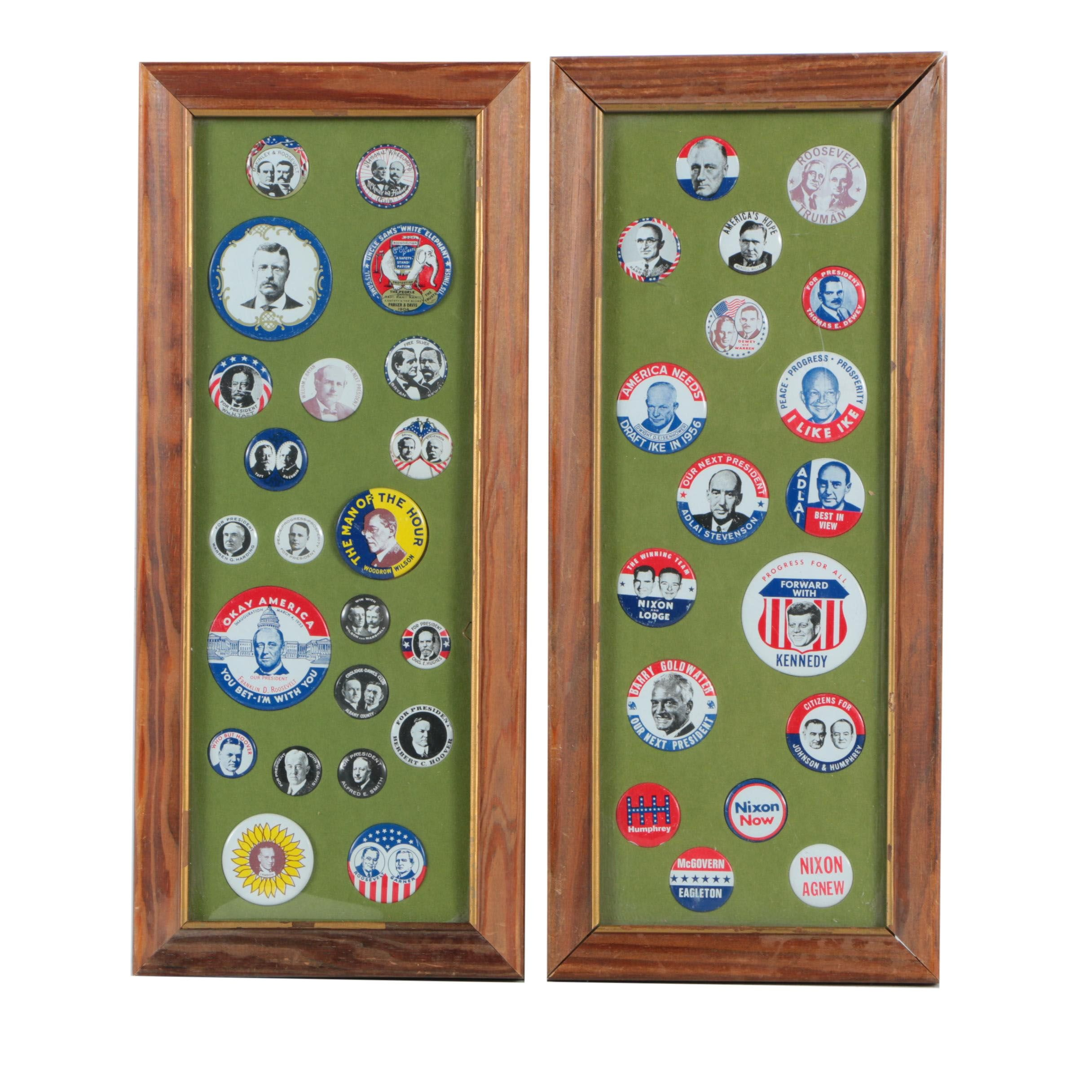 Collection of Framed Campaign Buttons