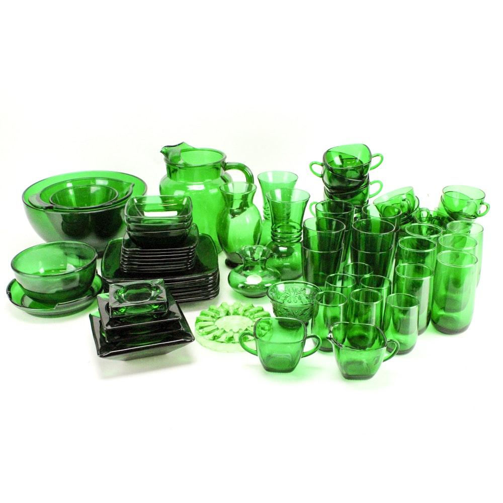 Emerald Green Glass Dinnerware and Decor