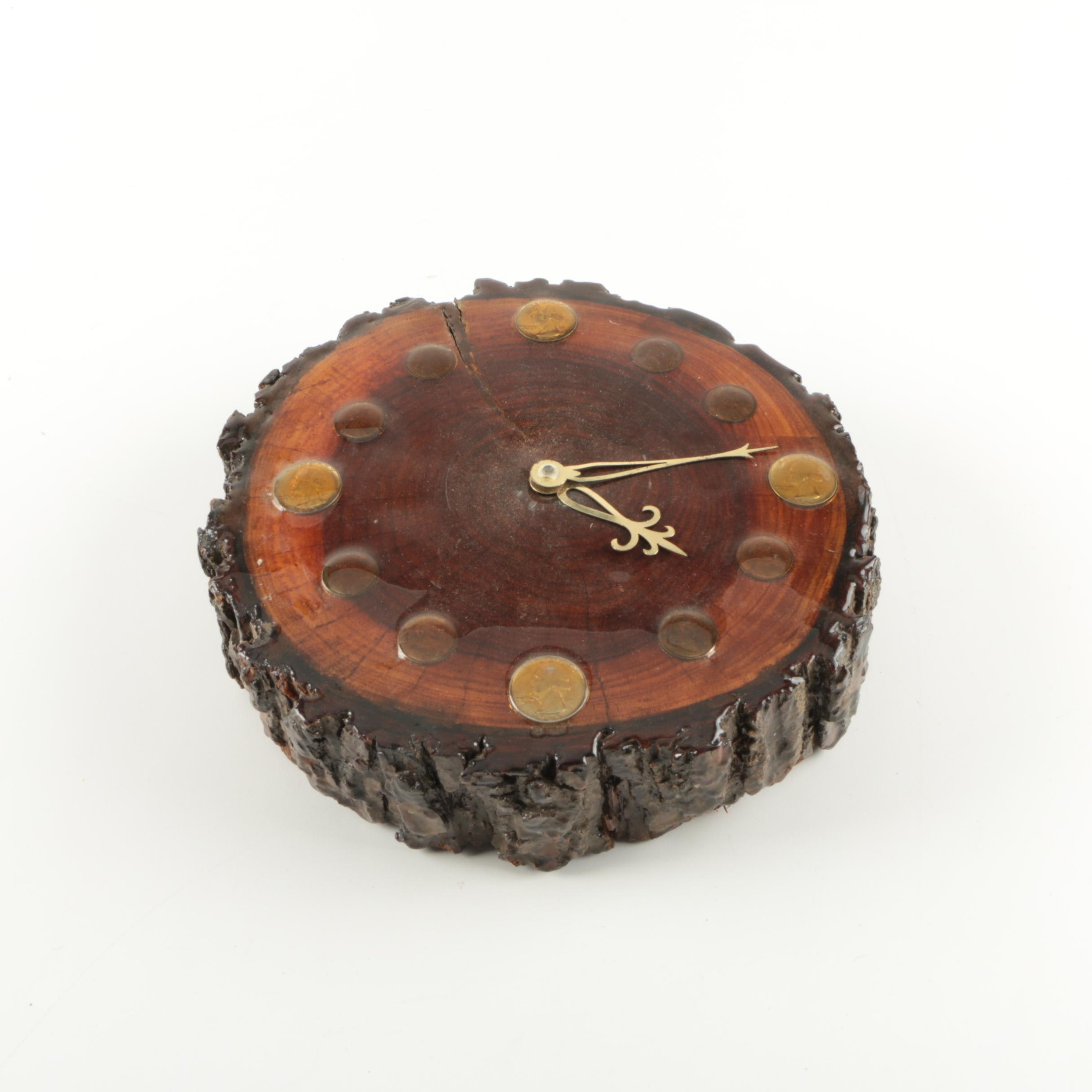 Tree Slice Wooden Wall Clock featuring U.S. Coinage