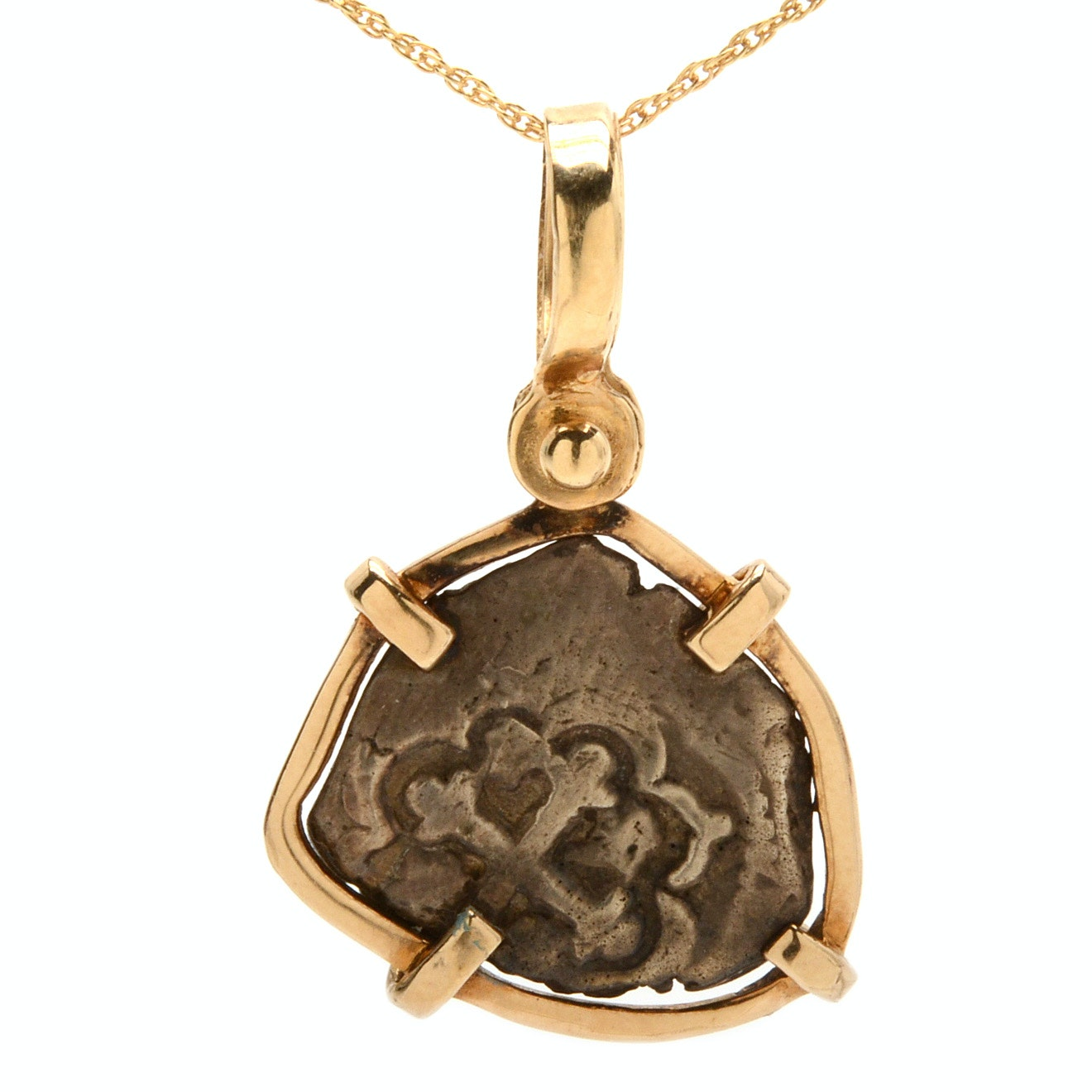 14K Yellow Gold Spanish Colonial Silver Coin Pendant Necklace