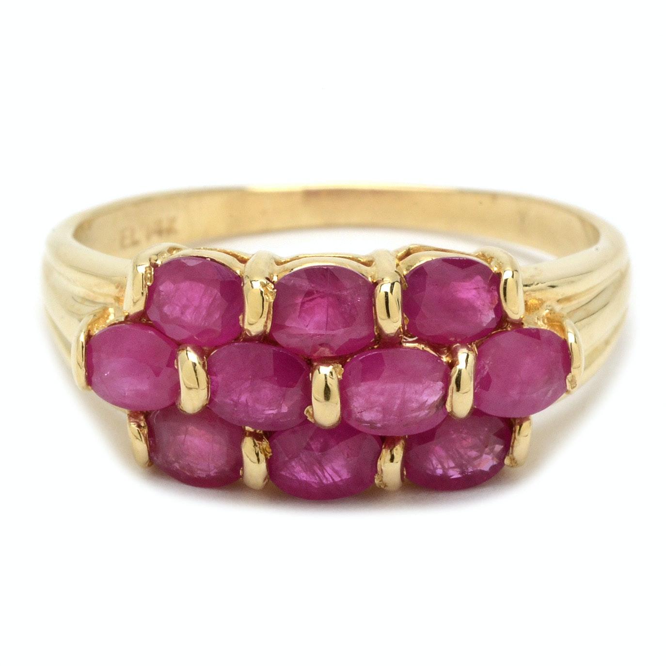 14K Yellow Gold Ruby Ring