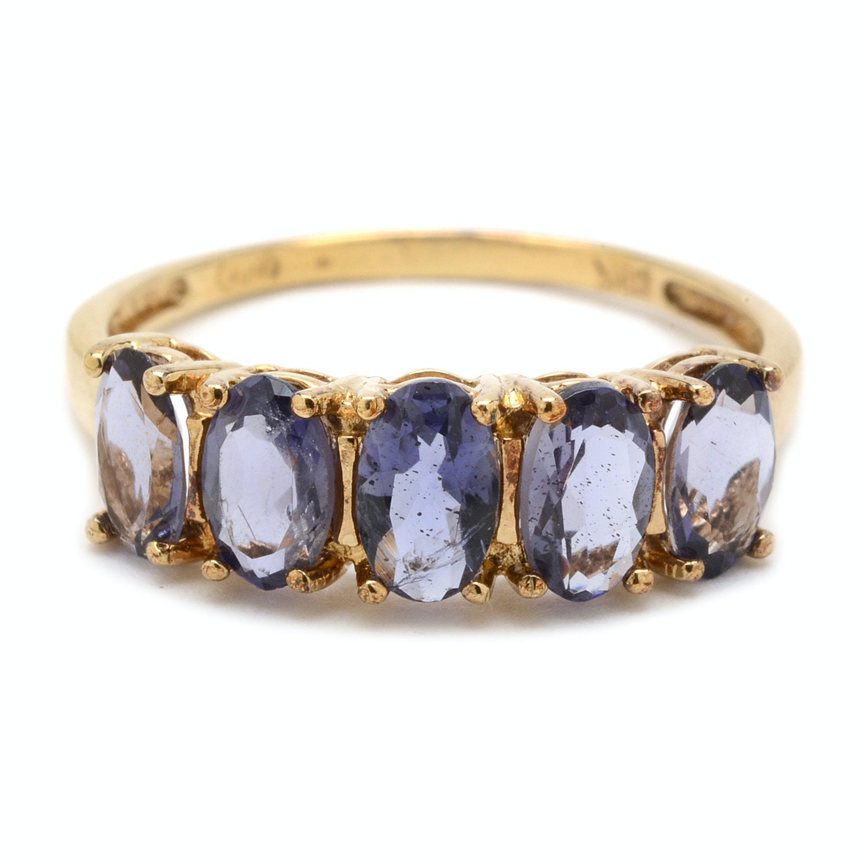 10K Yellow Gold Iolite Ring
