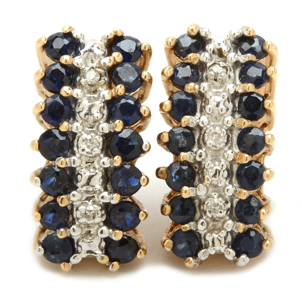 10K Yellow Gold Sapphire and Diamond Earrings