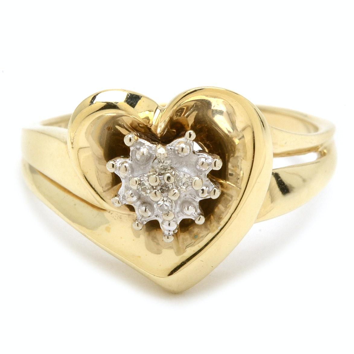 14K Yellow Gold Heart Shaped Diamond Ring