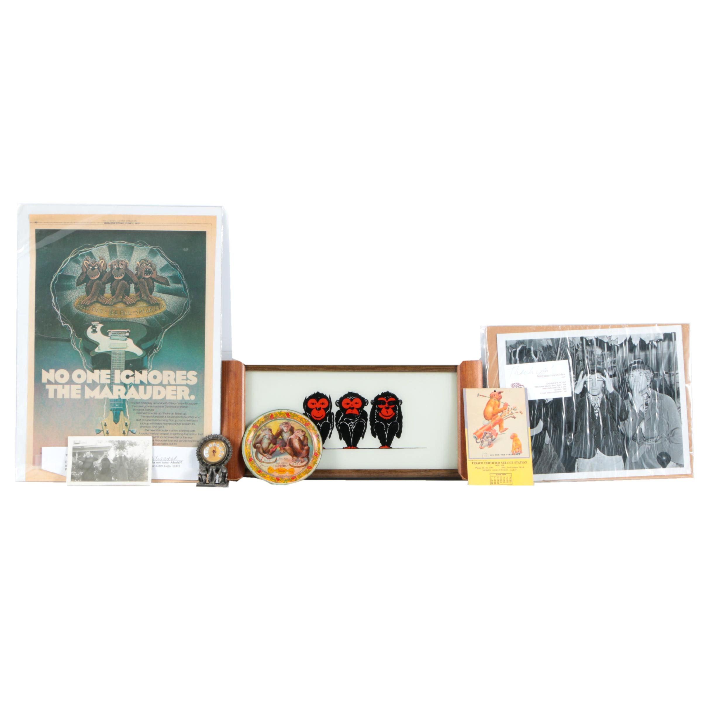 "Vintage ""Three Wise Monkeys"" Motif Objects and Ephemera"