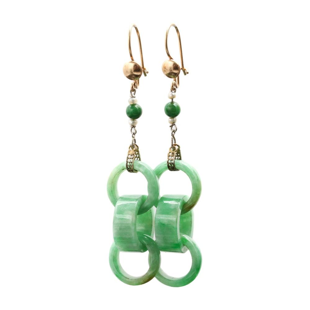 14K Yellow Gold Gemstone Dangle Earrings Including Dyed Jadeite